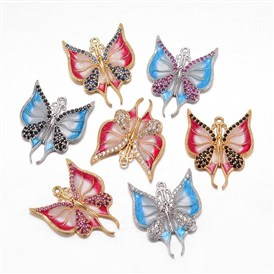 Brass Micro Pave Cubic Zirconia Pendants, with Enamel, Butterfly, Golden/Platinum