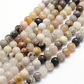 Natural Bamboo Leaf Agate Beads Strands, Round