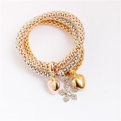 Alloy Stretch Charm Bracelets, Popcorn Chain, with Rhinestone, Flower and Heart-1