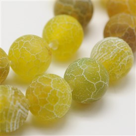 Dyed Natural Crackle Agate Round Beads Strands, Grade A
