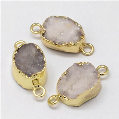 Electroplated Natural & Dyed Druzy Agate Links, with Golden Plated Brass Findings, Oval-1
