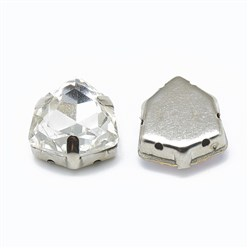 Crystal Sew on Rhinestone, K9 Glass Rhinestone, with Platinum Tone Brass Prong Settings, Garments Accessories, Triangle, Crystal, 12.5x12x6mm, Hole: 0.8mm