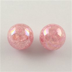 Pink AB Color Transparent Crackle Round Acrylic Beads, Pink, 20mm, Hole: 2.5mm; about 108pcs/500g