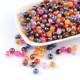 Transparent Acrylic Beads, AB Color Plating, Faceted, Flat Round, 8x6mm, Hole: 2mm; about 2300pcs/500g