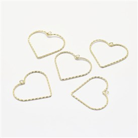 Long-Lasting Plated Brass Pendants, Real 18K Gold Plated, Nickel Free, Heart