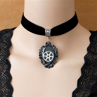 "Fashion Gothic Style Wool Cord Choker Necklace, with Alloy Gear, 11""-1"