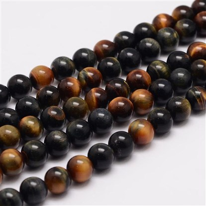 Natural Tiger Eye Bead Strands, Round, Grade A-1