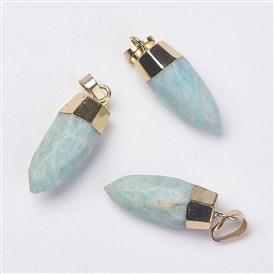 Natural Amazonite Pendants, with Golden Tone Brass Findings, Drop, Faceted