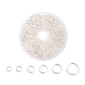1600 pcs Iron Close but Unsoldered Jump Rings, Metal Connectors for DIY Jewelry Crafting and Keychain Accessories, 4~10x0.7~1mm, about 1600pcs/box