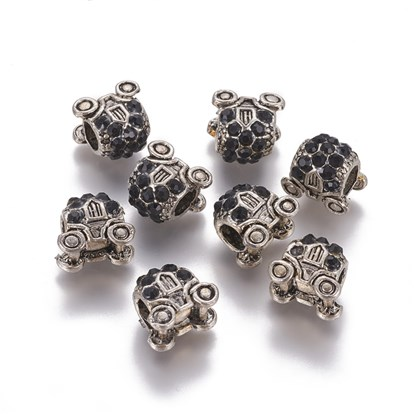 Antique Silver Plated Alloy European Beads, Large Hole Beads, with Rhinestone, Carriage