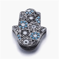 Gunmetal Long-Lasting Plated Brass Micro Pave Cubic Zirconia Pendants, Multi-strand Links, Hamsa Hand/Hand of Fatima/Hand of Miriam, Colorful, Colorful, Gunmetal, 23x17x3.5mm, Hole: 1x3~6mm