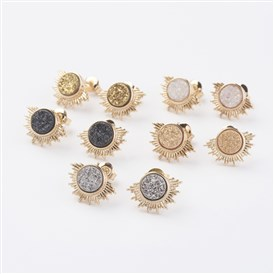 Electroplate Natural Druzy Agate Stud Earrings, with Brass Findings, Sun, Golden