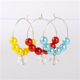 Imitation Acrylic Pearl Beads Wine Glass Charms, with Glass Beads and Brass Hoop Earrings, Platinum, 34mm; Pin: 0.7mm