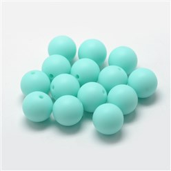 Cyan Food Grade Environmental Silicone Beads, Chewing Beads For Teethers, DIY Nursing Necklaces Making, Bowknot, Cyan, 21x29x10.5mm, Hole: 2mm