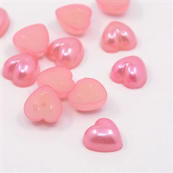 PearlPink Acrylic Imitation Pearl Cabochons, Dyed, Heart, PearlPink, 10.5x10.5x5mm; about 1500pcs/bag