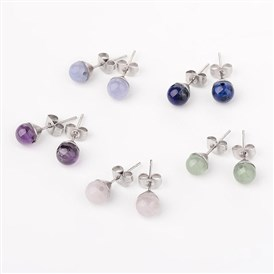 304 Stainless Steel Stud Earrings, with Natural Rose Quartz/Lapis Lazuli/Quartz/Green Aventurine/Amethyst, 20mm; Pin: 0.6mm