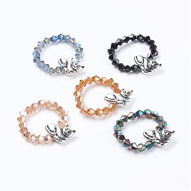 Electroplate Faceted Glass Beads Rings, with Alloy Beads, Cat