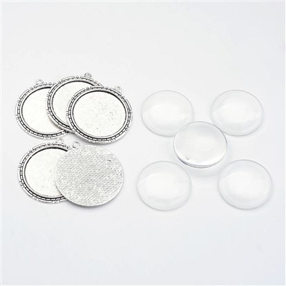 Pendant Making Sets, with Alloy Pendant Cabochon Settings, Glass Cabochons, Flat Round, Cadmium Free & Nickel Free & Lead Free-1