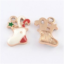 Rose Gold Tone Metal Alloy Enamel Pendants, Christmas Sock