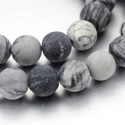 Frosted Round Natural Black Silk Stone/Netstone Bead Strands, 10mm, Hole: 1mm; about 40pcs/strand, 15""