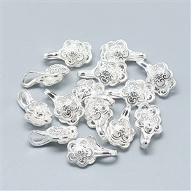 925 Sterling Silver Pendants, Buddhist Jewelry Findings for Counter Clips, Flower