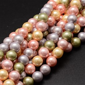 Shell Pearl Bead Strands, Grade A, Round, 8mm, Hole: 1mm; about 54pcs/strand, 16""