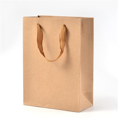 Rectangle Kraft Paper Pouches Gift Shopping Bags, with Nylon Thread