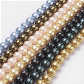 Wrinkle Textured Shell Pearl Beads Strands, Dyed, Round