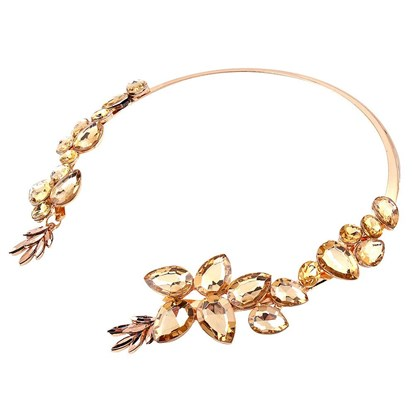 Alloy Choker Necklaces, with Rhinestone, Open Circle-1