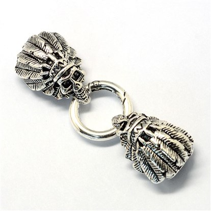 Alloy Key Clasps, with Cord Ends, Skull-1