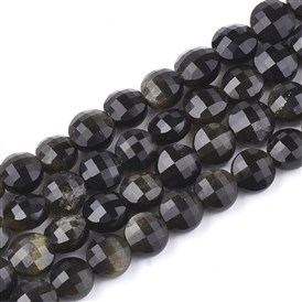 Natural Golden Sheen Obsidian Beads Strands, Faceted, Flat Round