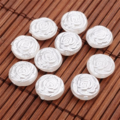 Imitation Pearl Acrylic Beads, Flat Round with Flower-1