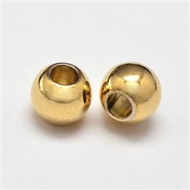 Rack Plating and Vacuum Plating Brass Round Spacer Beads, Cadmium Free & Lead Free, 5mm, Hole: 1mm