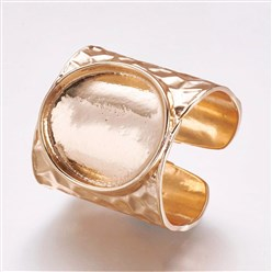 Light Gold Cuff Brass Pad Finger Ring Settings, Size 9, Light Gold, Tray: 15mm; 19mm