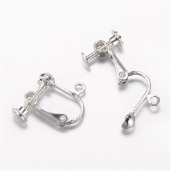Silver Brass Clip-on Earring Findings, Lead Free, Silver, 16x16~17x5mm, Hole: 1.5mm