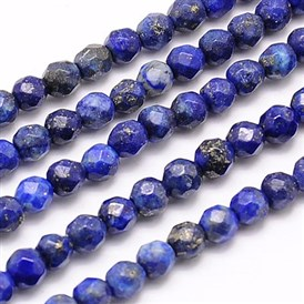 Natural Lapis Lazuli Beads Strands, Faceted, Round, 4mm, Hole: 1mm; about 90pcs/strand, 15.35""