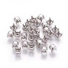 316 Stainless Steel Rhinestone Claw Settings, Prong Settings, Round