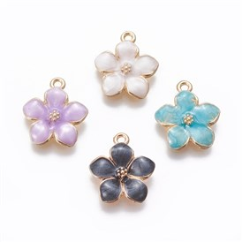 Alloy Enamel Pendants, Flower, Light Gold