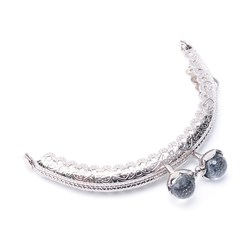 SlateGray Iron Purse Frame Handle, with Half Round Resin Beads, for Bag Sewing Craft Tailor Sewer, Platinum, SlateGray, 60x86x11mm, Hole: 1.5mm