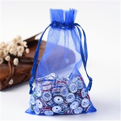 Blue Organza Gift Bags with Drawstring, Jewelry Pouches, Wedding Party Christmas Favor Gift Bags, Blue, 10x8cm
