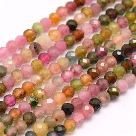 Natural Tourmaline Beads Strands, Grade AA, Faceted, Round
