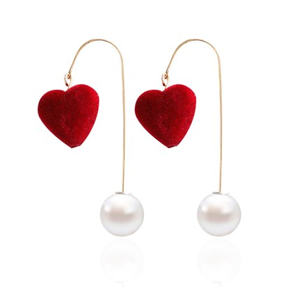 Alloy Dangle Stud Earrings, with Fluffy Heart and Imitation Pearl, Golden-1