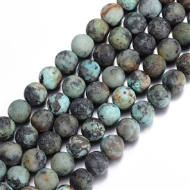 Frosted Natural African Turquoise Round Beads Strands