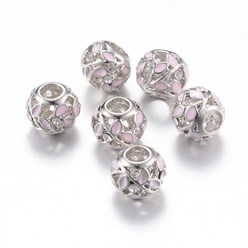 Pink Alloy Enamel European Beads, Rhinestones, Large Hole Beads, Rondelle with Leaf, Silver, Pink, 11x9~9.5mm, Hole: 4mm