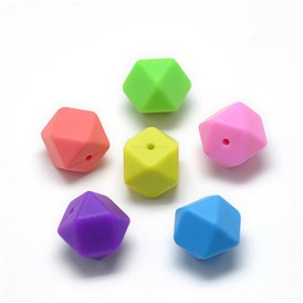 Food Grade Environmental Silicone Beads, Chewing Beads For Teethers, DIY Nursing Necklaces Making, Faceted Cube