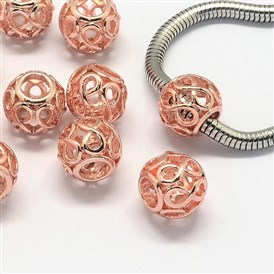 Alloy European Beads, Large Hole Beads, Rondelle, Hollow, 11x9.5mm, Hole: 5mm