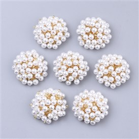 ABS Plastic Imitation Pearl Cabochons, Cluster Beads, with Glass Seed Beads and Golden Plated Iron Sieve Findings