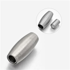 Barrel 304 Stainless Steel Matte Surface Magnetic Clasps, 18x8mm, Hole: 4mm