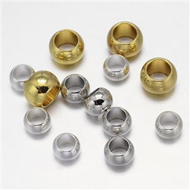 Brass European Beads, Large Hole Beads, Rondelle