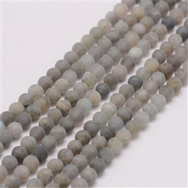 Natural Labradorite Beads Strands, Frosted, Round